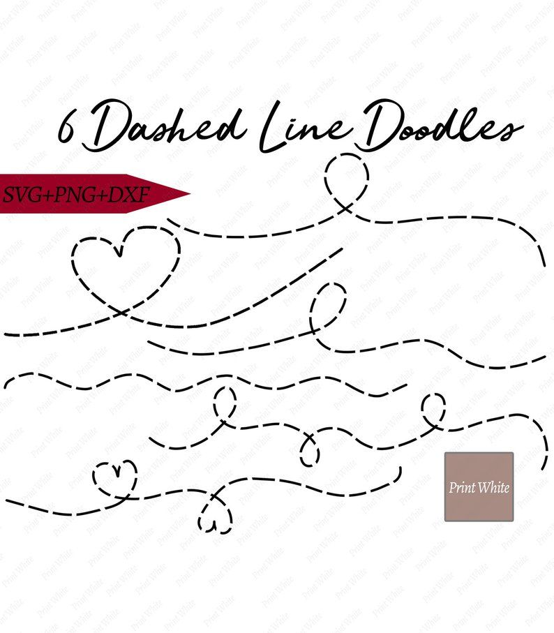 Dotted Line Svg , Dotted Line Doodles Set, Png Svg Dxf.
