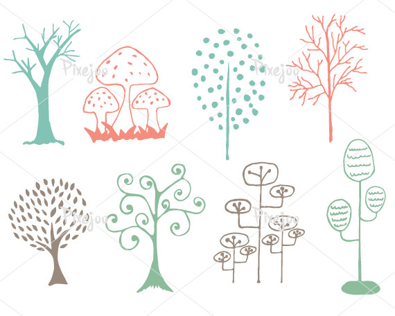 Doodle trees clipart.
