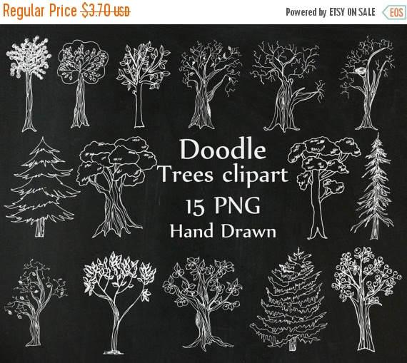 50%SALE Chalkboard Trees clipart: