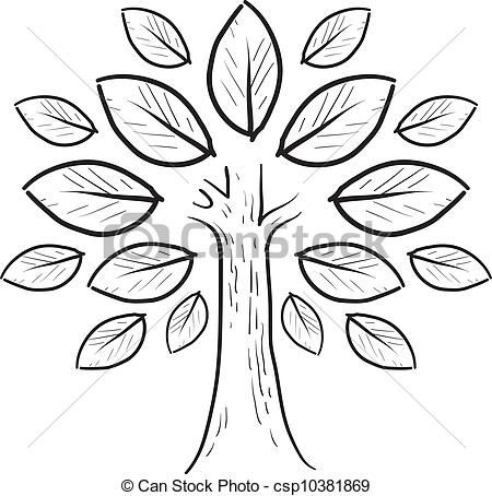 Clip Art Vector of Abstract tree sketch.