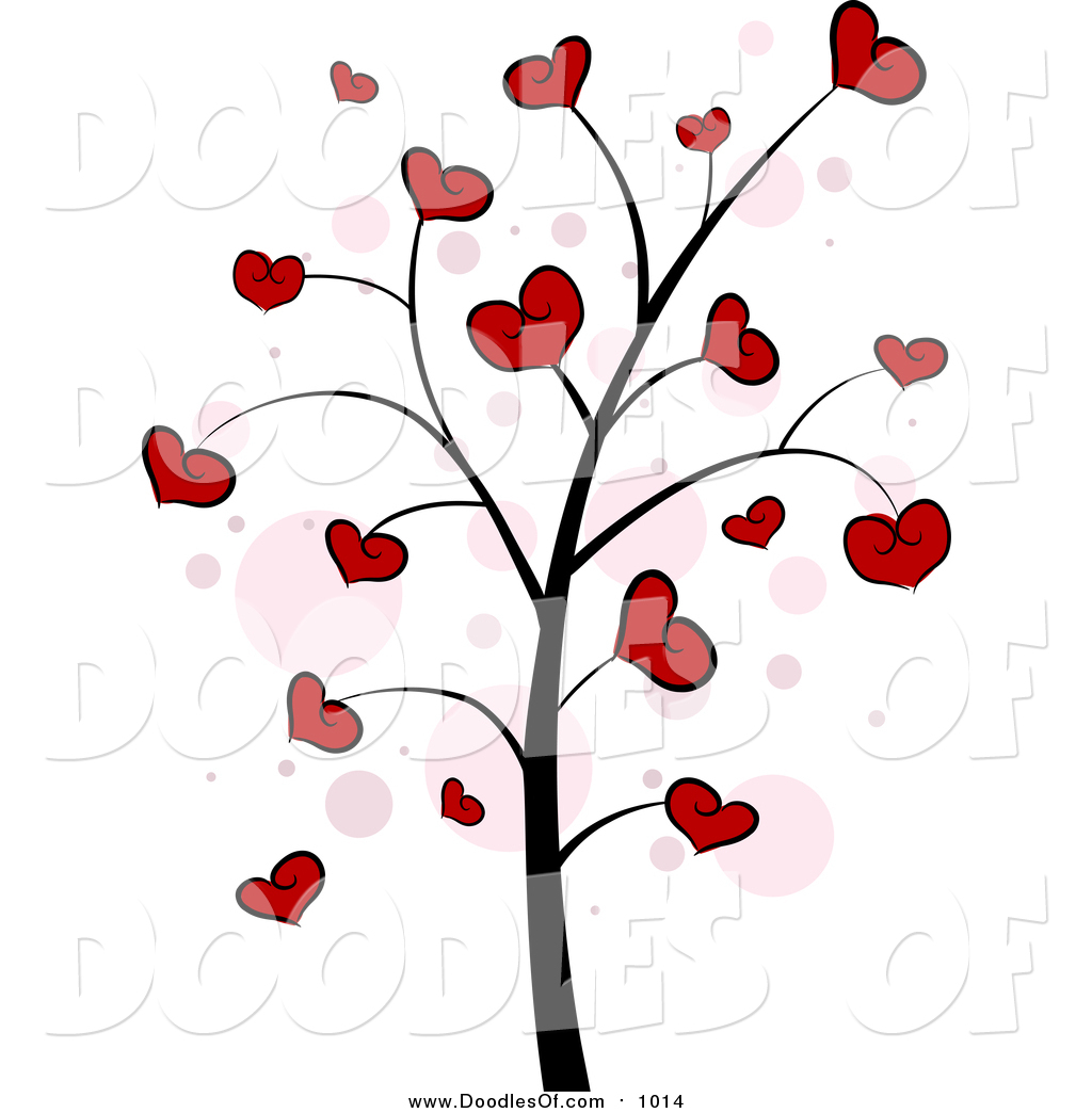 Vector Clipart of a Valentine Doodle Tree with Hearts by BNP.