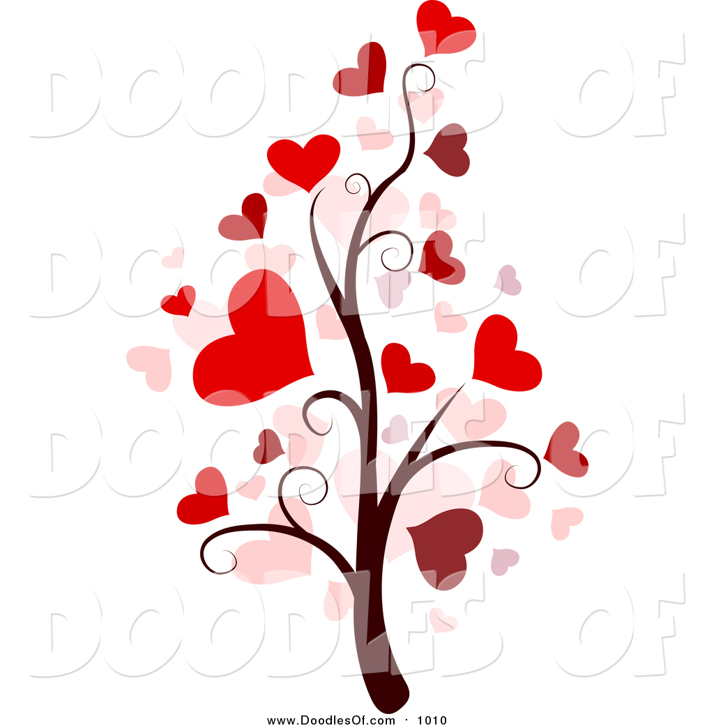 Vector Clipart of a Valentine Doodle Tree by BNP Design Studio.