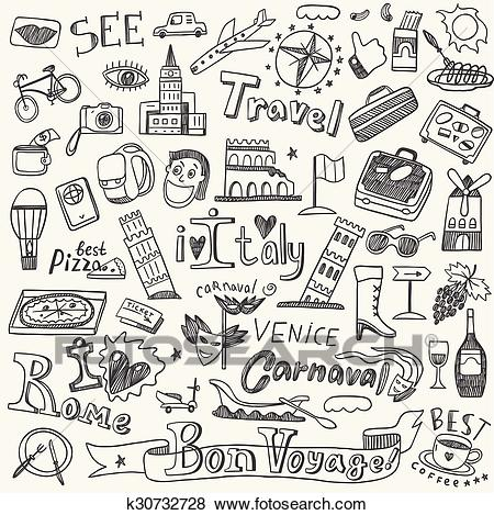 Italy travel doodles Clip Art.