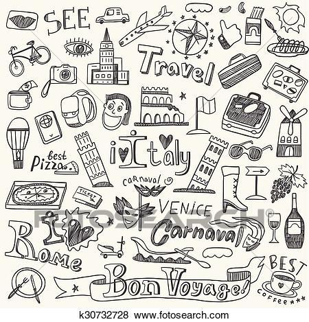 Italy travel doodles Clip Art.