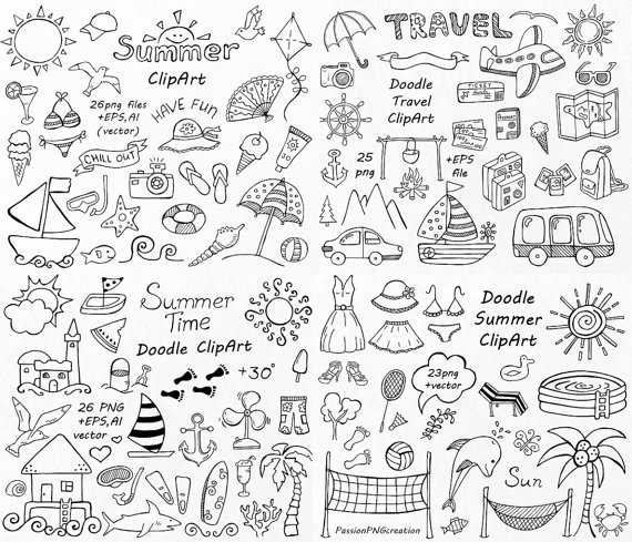 BIG SET of Doodle Summer cliparts, Hand drawn vacation.