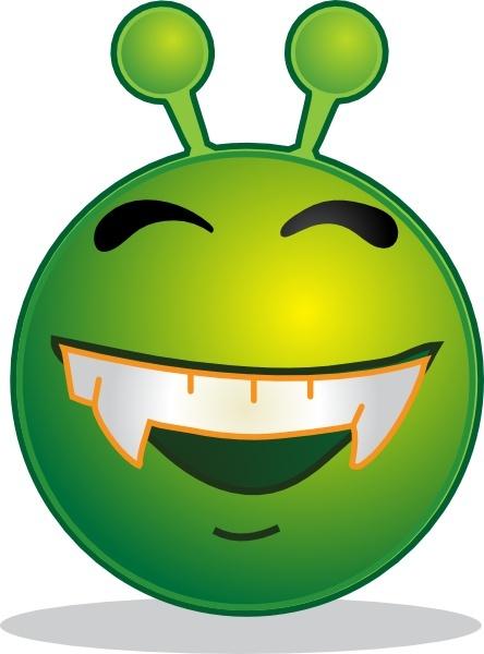 Smiley Green Alien Doof clip art Free vector in Open office.