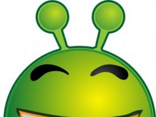 Smiley Green Alien Red clip art.