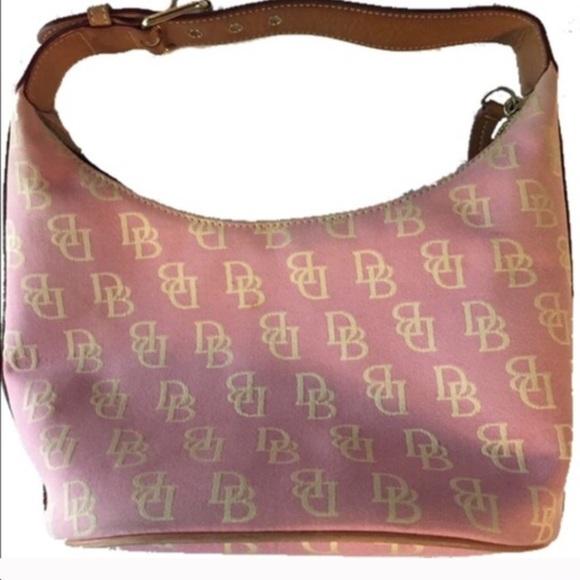 Dooney & Bourke Small Pink Logo Bucket Bag.