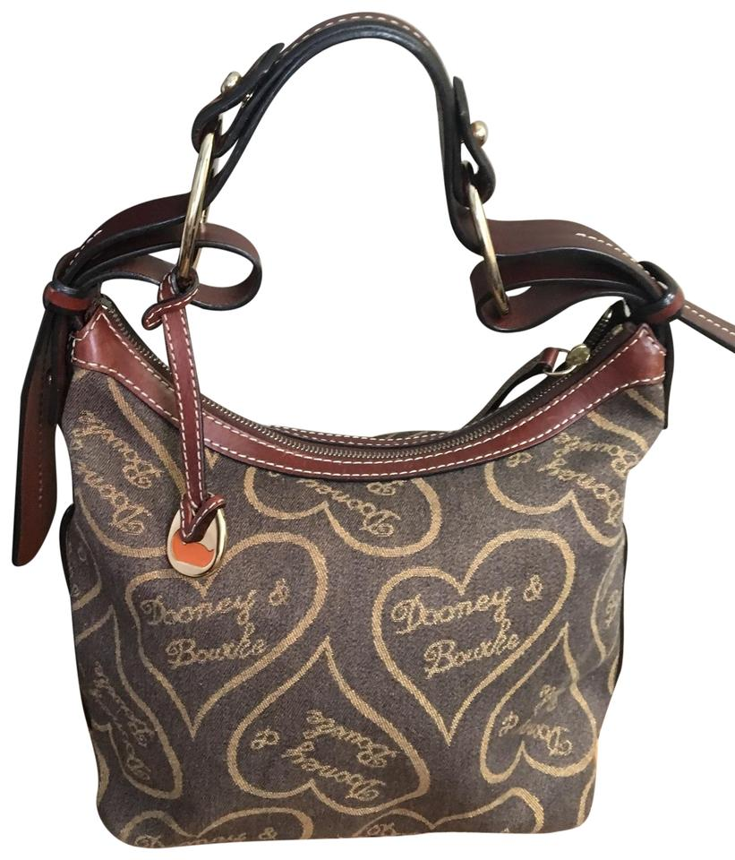 Dooney & Bourke Heart Logo Brown/Tan Canvas with Deep Brown Leather Trim  Canvas/Leather Hobo Bag 73% off retail.