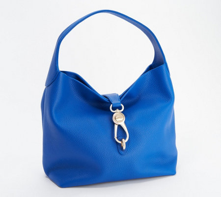 Dooney & Bourke Pebble Leather Logo Lock Hobo — QVC.com.