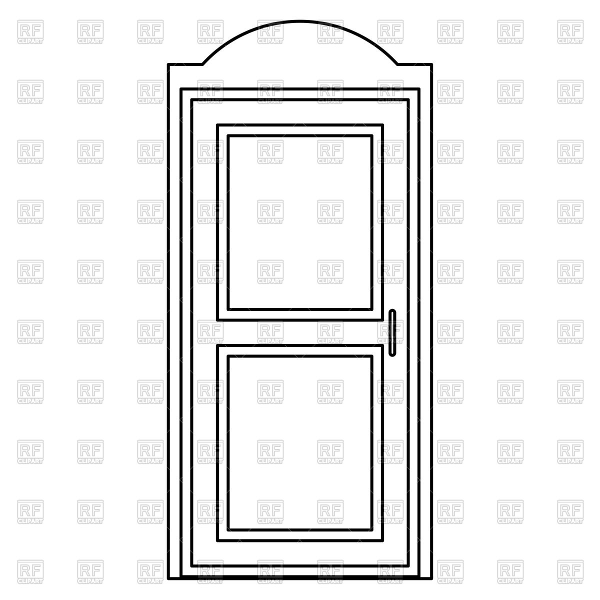 Door outline on white background Stock Vector Image.