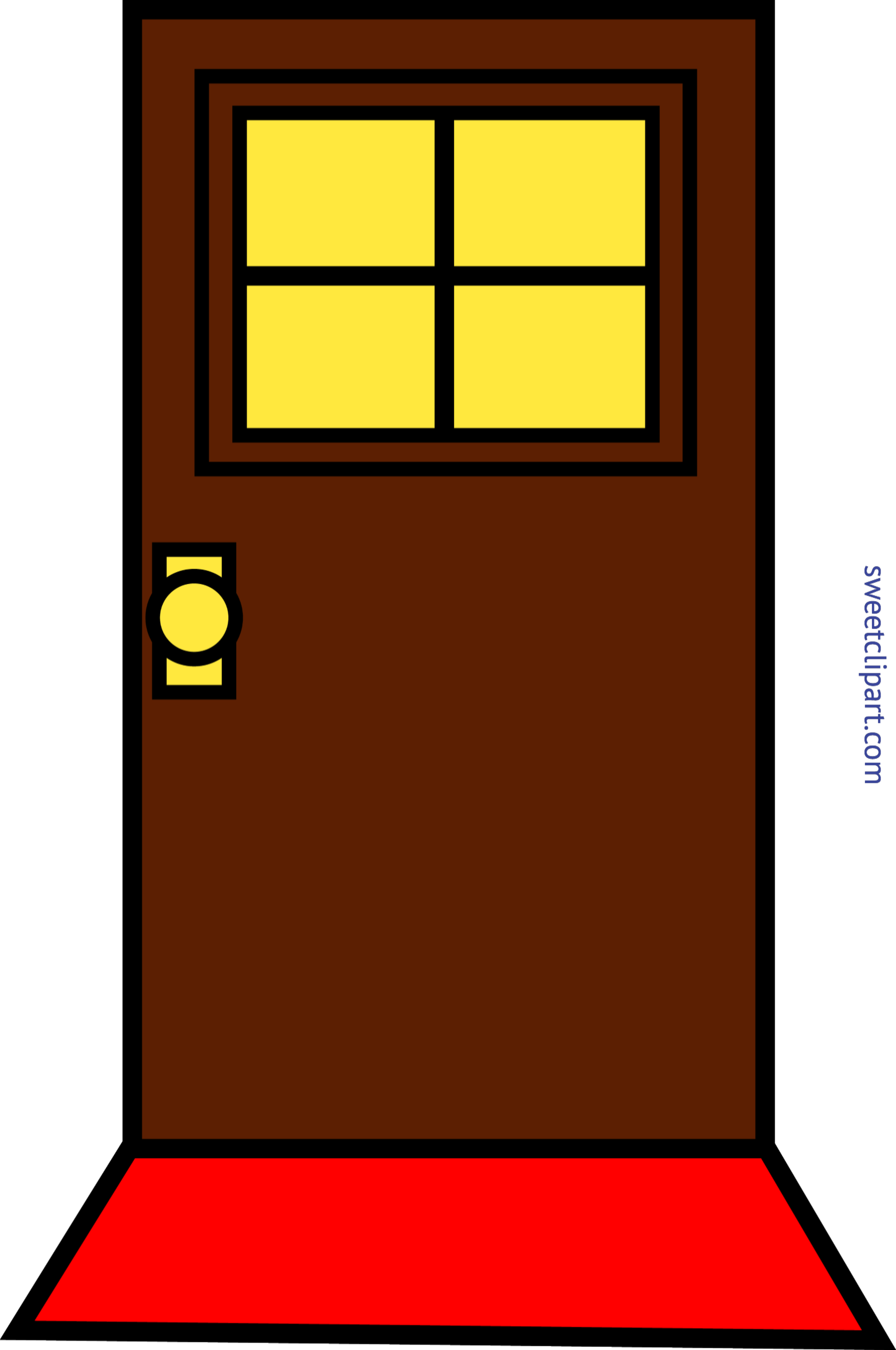 Domestic Simple Brown Door Clip Art.