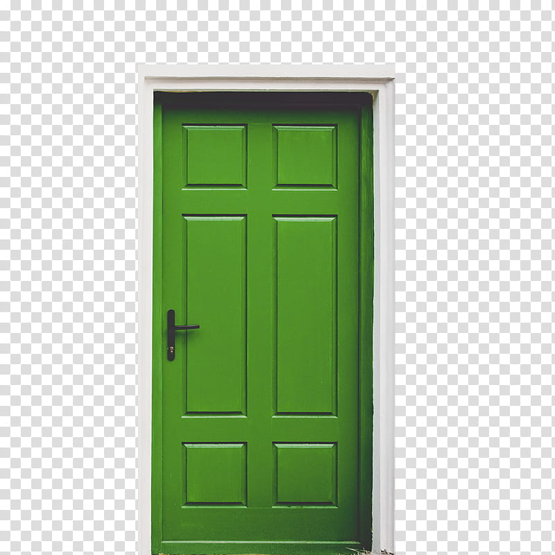 green door closed transparent background PNG clipart.