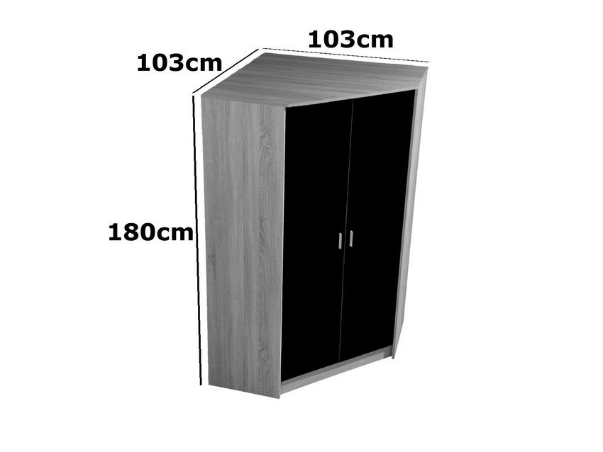 White High Gloss Door Corner Wardrobe Bedroom Furniture With Oak.
