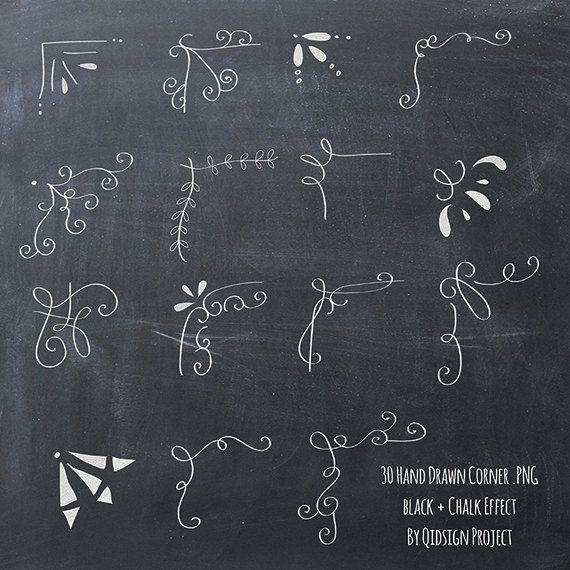 30 Hand drawn corner clipart chalk and black Scrapbook embellish.