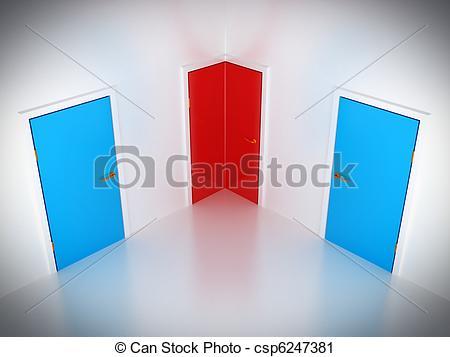 Clipart of Choosing the way: conceptual corner door in abstract.