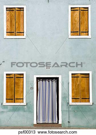 Stock Photo of Italy, Venice, Burano, House facade, closed.