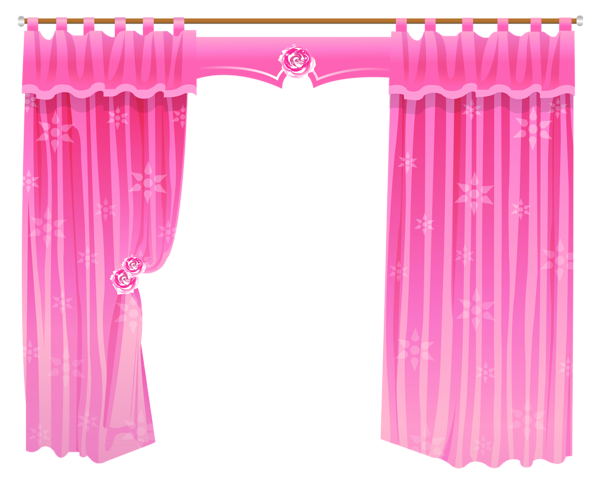 Pink Curtains Transparent PNG Clipart.