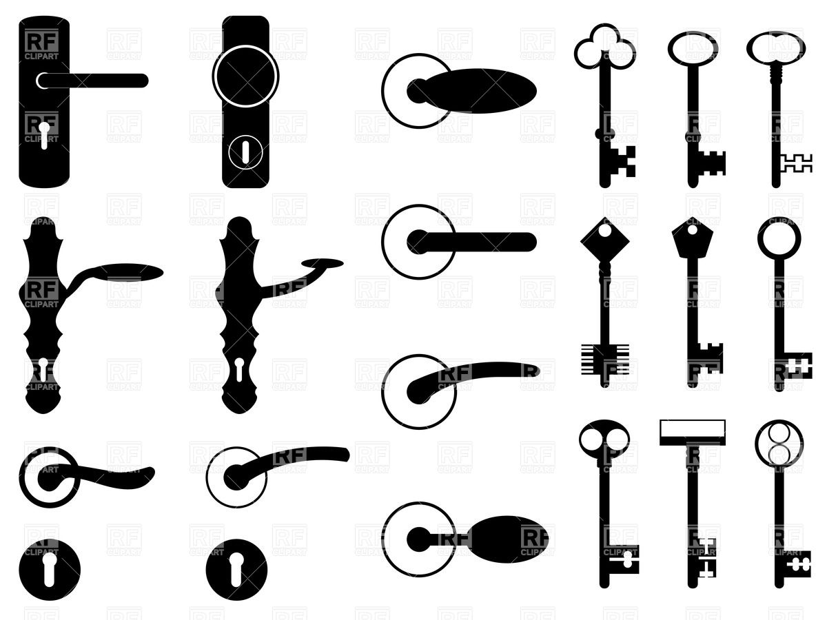 Silhouettes of antique door knobs, handles and old keys Vector.