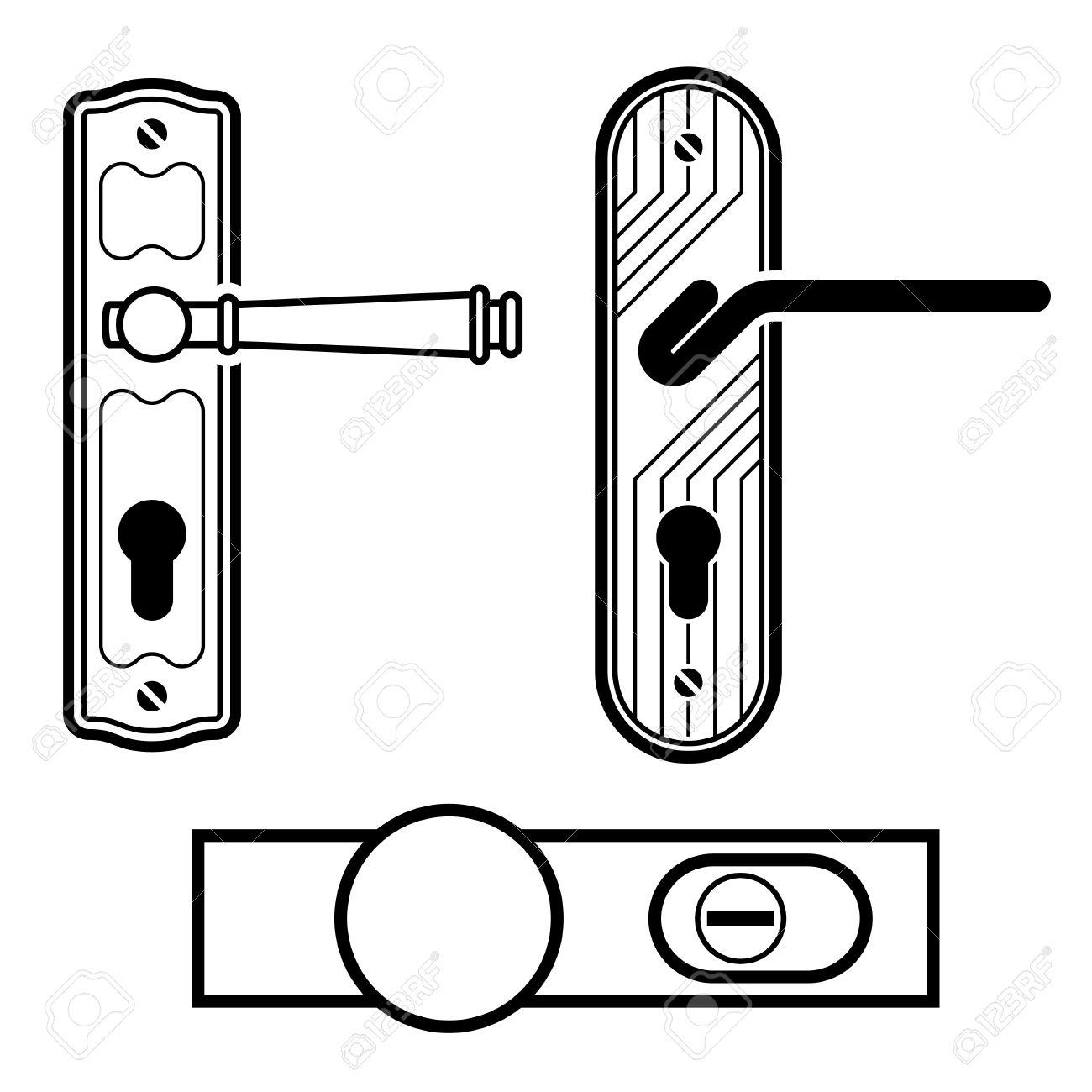 Vector Door Handle Black Icons Royalty Free Cliparts, Vectors, And.
