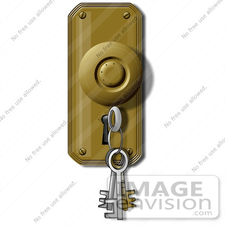 Clip Art Graphic of a Key Ring In A Key Hole.