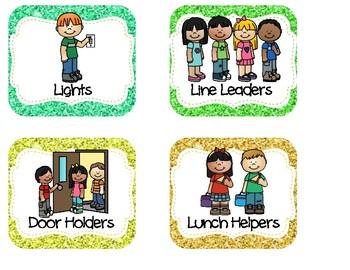 Rainbow glitter Classroom Helpers Chart.