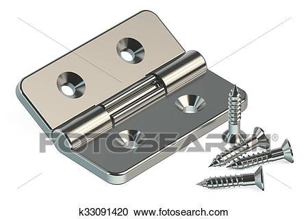 Door hinge with screws Clipart.