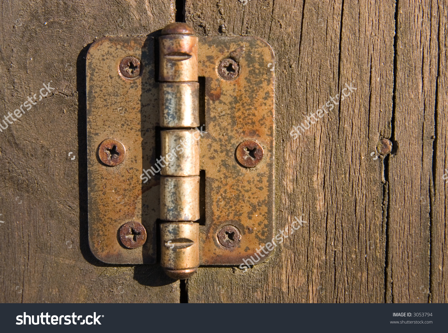 Old Door Hinge On Wooden Door Stock Photo 3053794.
