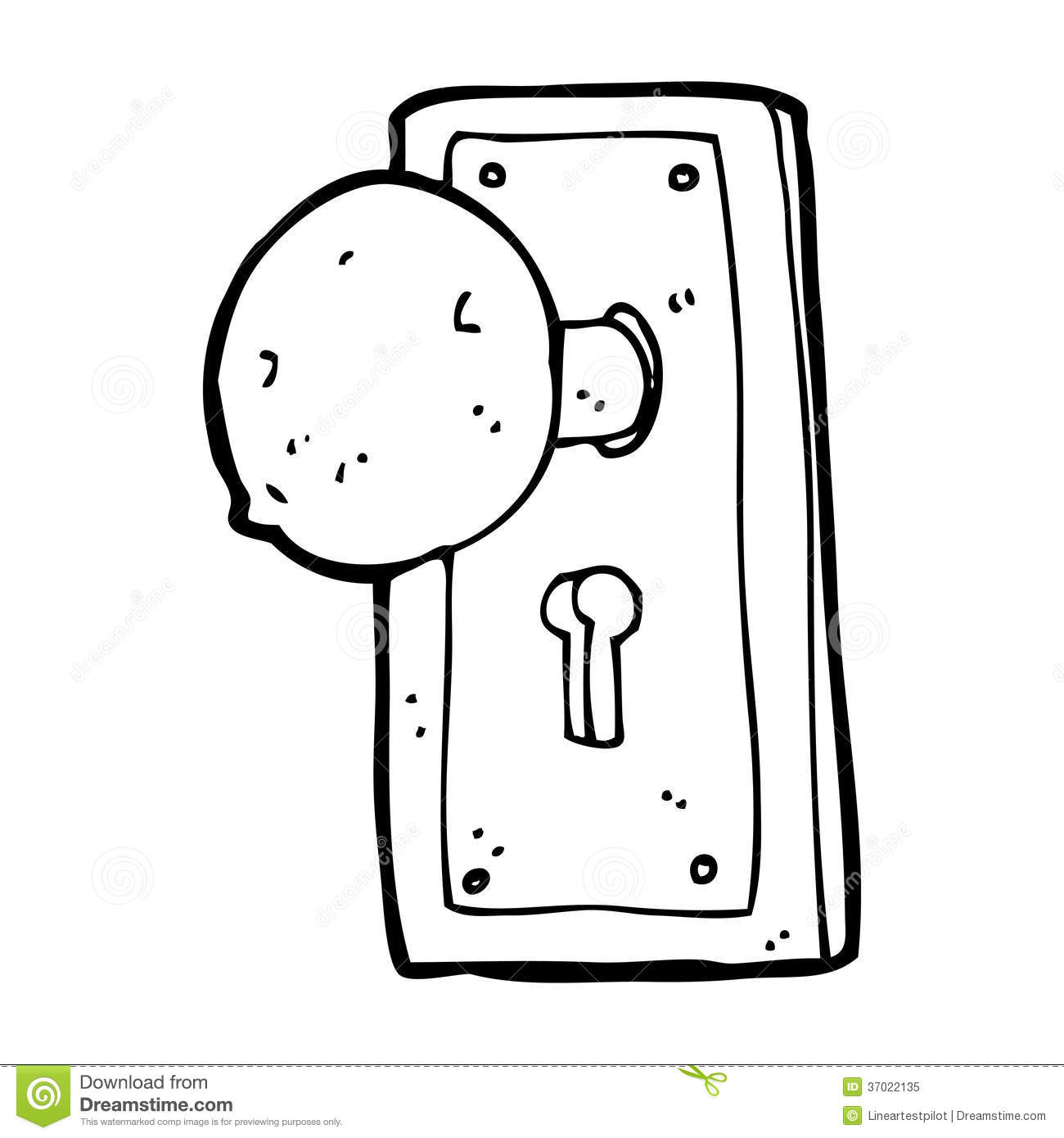 Cartoon Old Door Knob Royalty Free Stock Photo.