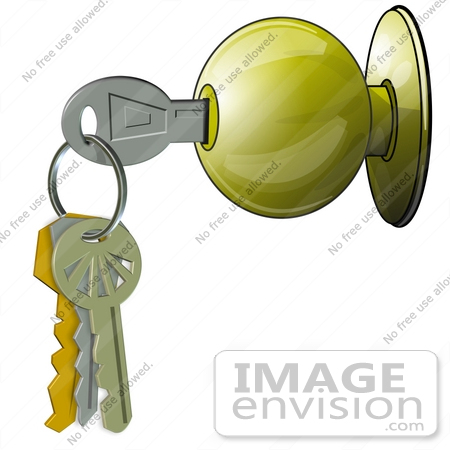 Clip Art Graphic of a Door Knob And Keys.