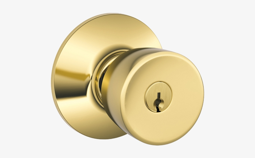 Byron Bright Brass Keyed Entry Door Knob.