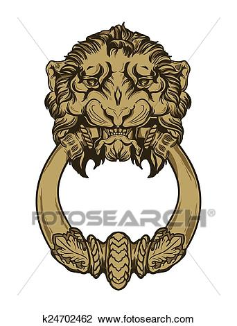 Gold lion head door knocker. Hand drawn vector illustration Clipart.