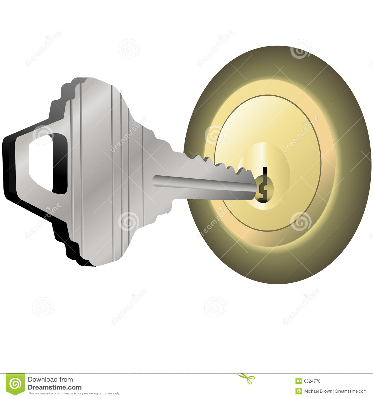 House Key To Unlock Brass Lock For Home Door Stock Photo.