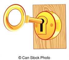 Clip Art Vector of Gold lock and key.