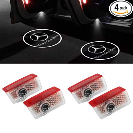 KRADA Car Door Logo Light LED Projector Ghost Shadow Welcome Lights for  Mercedes Benz Emblem Courtesy Step Lights Kit Replacement (4 Pack).