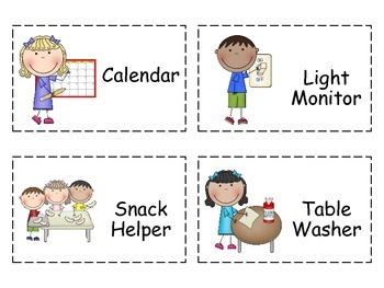Job Chart Classroom Helpers.