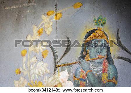 Stock Image of Krishna, the Shepherd Boy, on a painted front door.