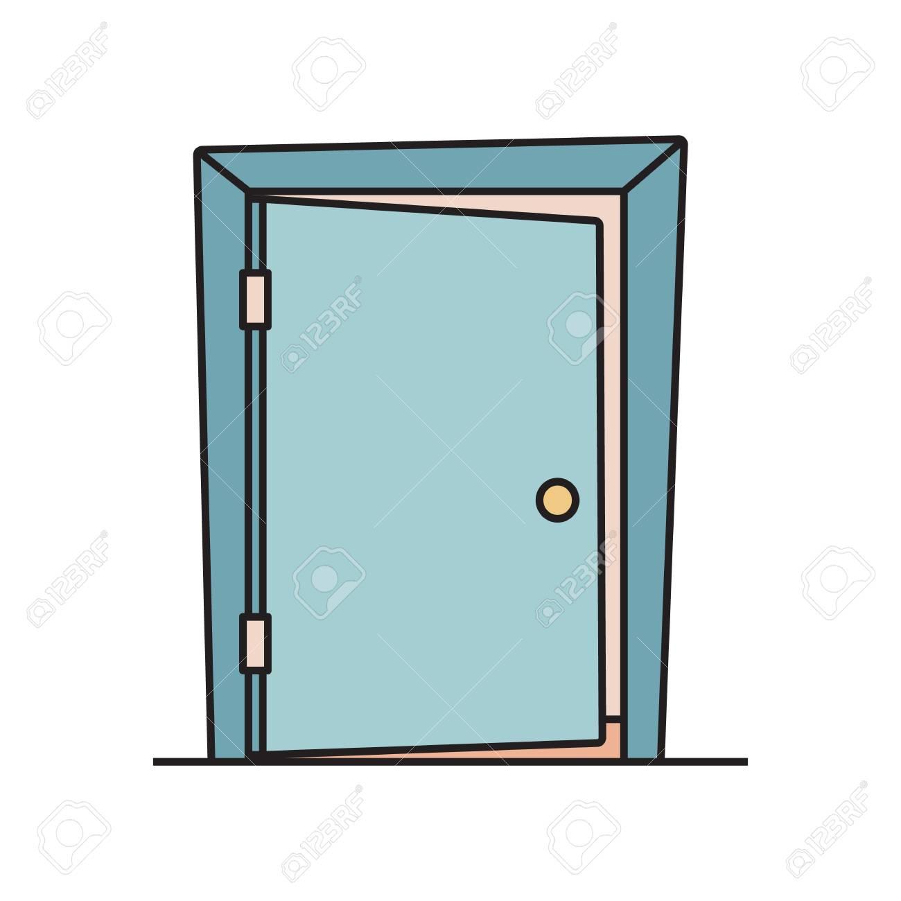 Flat cartoon icon with slightly open, ajar door.