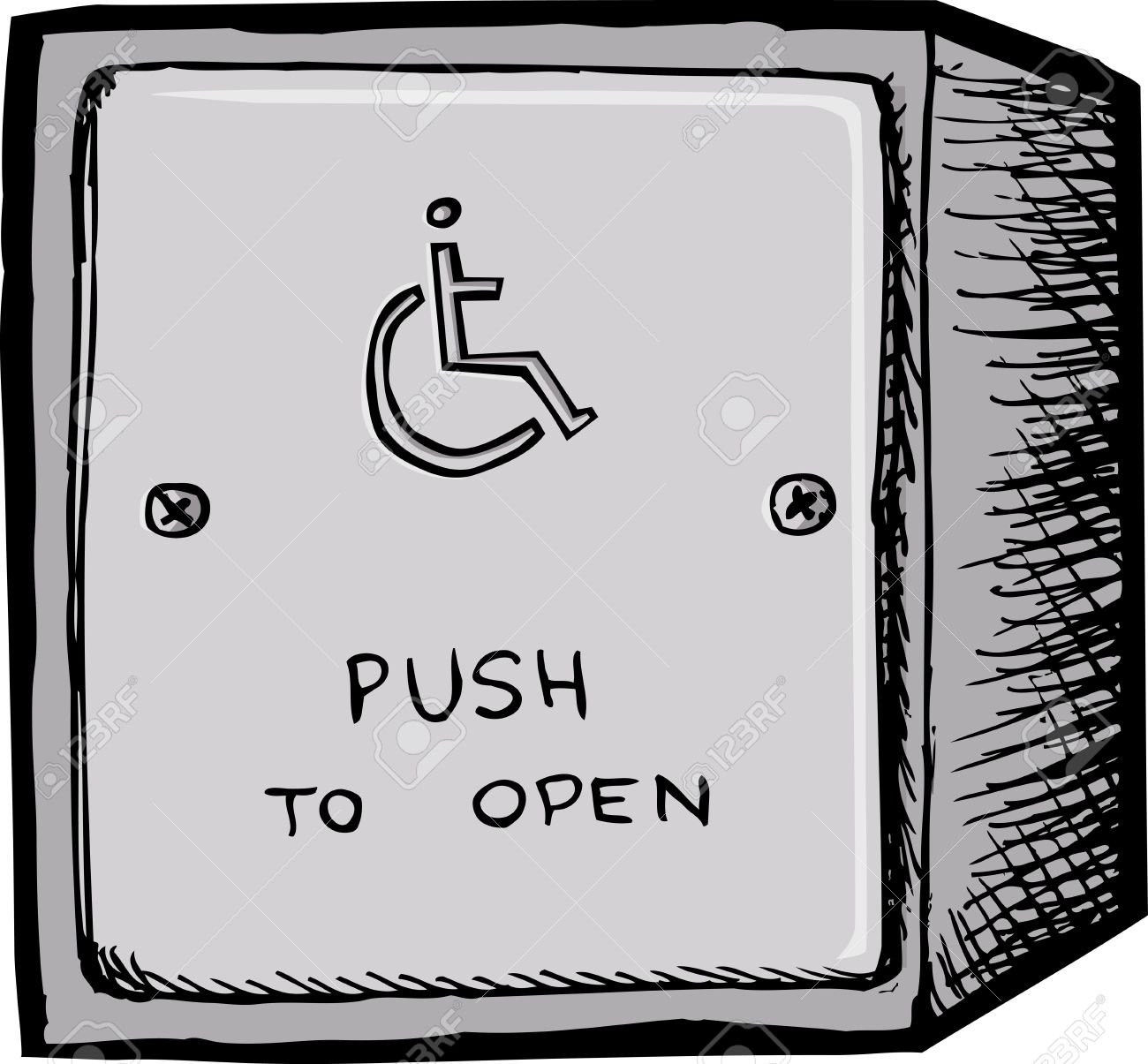 Accessible Electronic Door Opener Button On White Background.