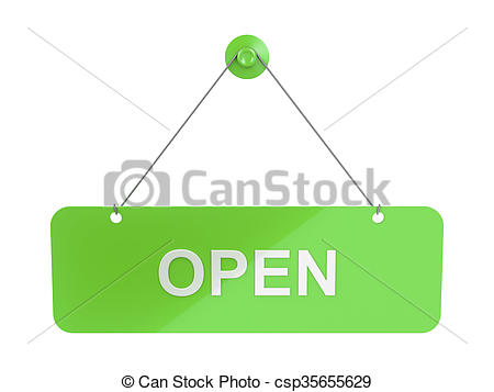 Clip Art of Open sign door plate.