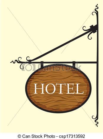 EPS Vectors of Wooden hotel door sign.