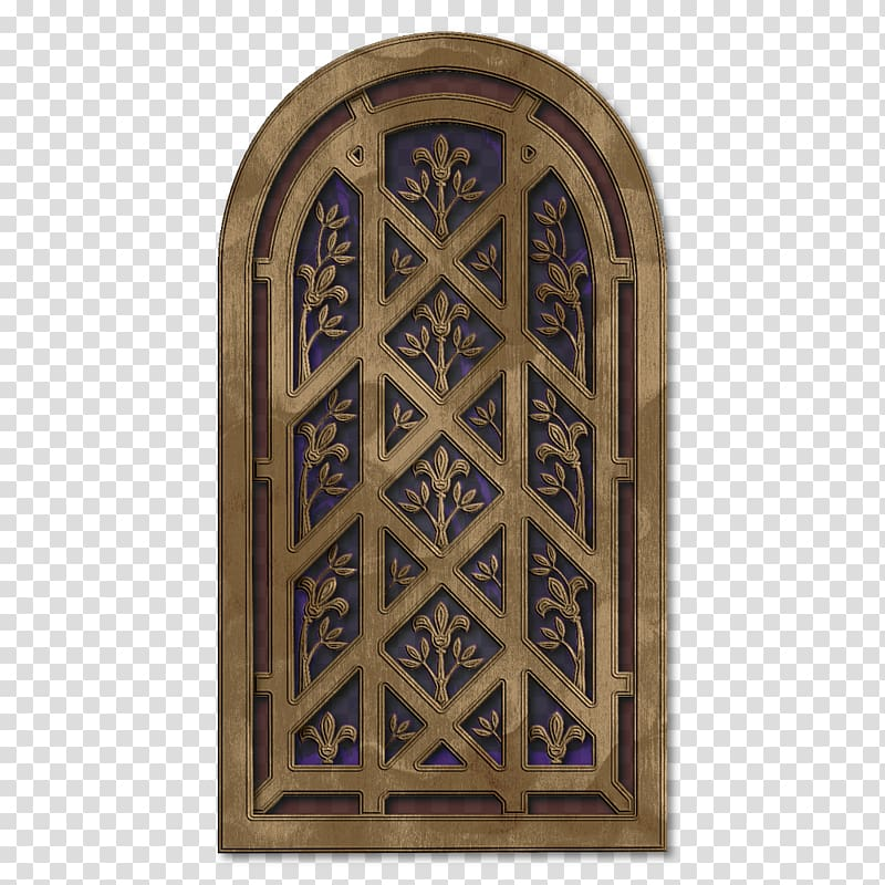 Brown and blue floral wooden decor illustration, Window Arch.