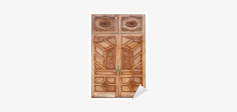 Wooden Door With Ancient Texture On White Background.
