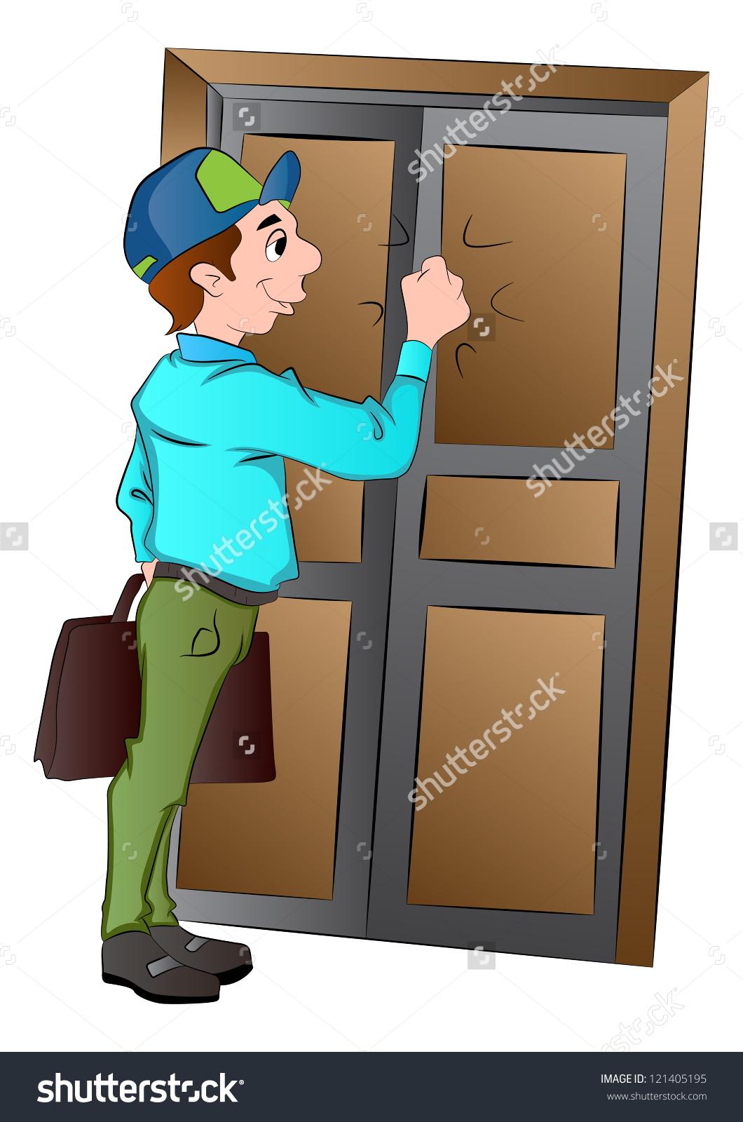 Salesman Knocking On Door Vector Illustration Stock Vector.