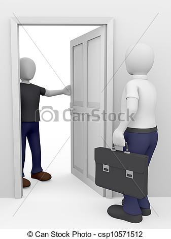 Stock Illustration of Door to Door Salesman.