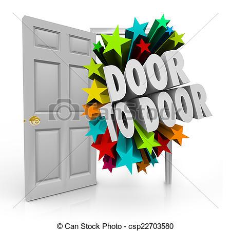 Pictures of Door to Door Sales Solicitation Prospect New Customers.