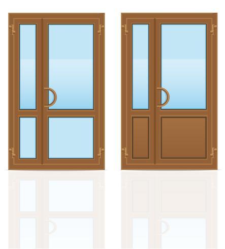 brown plastic transparent doors vector illustration.