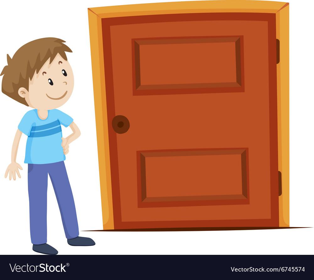 Man looking at the door.