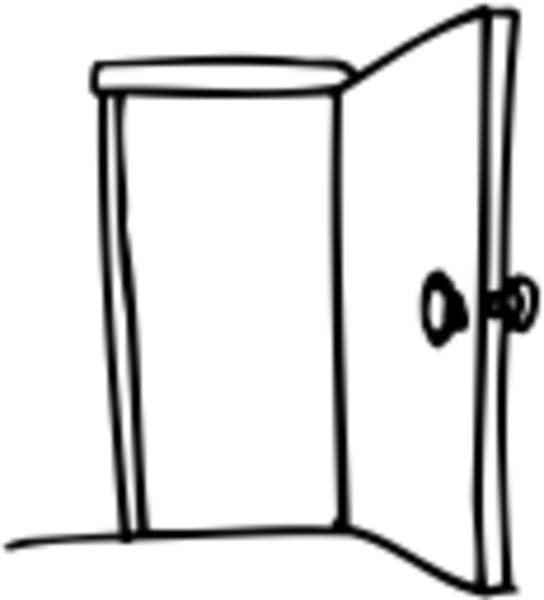 clipart door black and white #9
