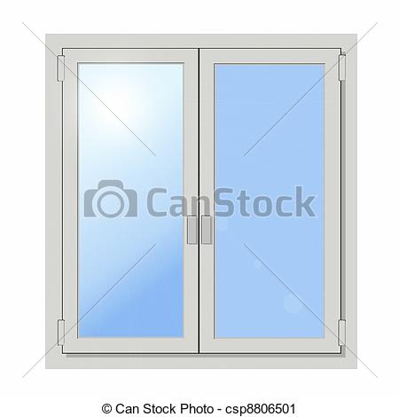 Clipart of plastic double door window isolated on white background.